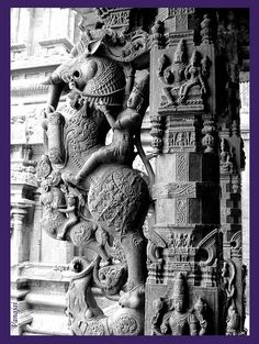 Yaali (http://en.wikipedia.org/wiki/Yali_(Hindu_mythology)) with rider- stone sculpture from 500 yr old Jalakanteeswarar Temple, Vellore