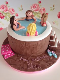 Hot tub cake Tutu Birthday Cake, Number Birthday Cakes, Pool Party Cakes, Pool Cake, Spa Cake, 50th Cake, Mothers Day Cake, Birthday Cake Decorating, Just Cakes