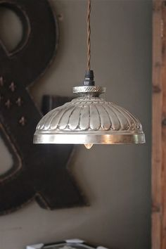 Pressed tin pendant from Attic. Vintage Lighting, Cool Lighting, Lighting Design, Pendant Lamp, Pendant Lighting, Lamp Light, Light Up, Chandelier Lamp Shades, Light Effect