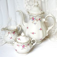 vintage floral tea set  vintage floral coffee by minoucbrocante