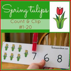 Printable Counting Activity for Preschoolers: Spring Tulips Count  Clip Cards