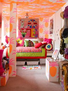 Colorful and Fancy Tween Girl Bedroom with Pop Art in Wall and A lot of Cute Pillows a part of Cheerful Tween and Teenage Girls Bedroom Idea with Purple Curtains and White Rug and Artistic Wall Decoration under Bedrooms Girls Bedroom, Teenage Girl Bedroom Designs, Girls Room Design, Teenage Girl Bedrooms, Bedroom Decor, Bedroom Ideas, Bedroom Furniture, Theme Bedrooms, Girls Daybed