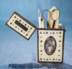 Antique Needlework Tools and Sewing: 74 18th Century French Bone and Gold Etui with Friendship-Themed Miniature Paintings