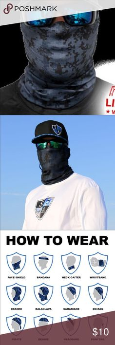 Salt Armour Blue Digital Camo Face Shield Sun Mask SA Co. Face Shield™ tubular bandanas offer style and sun protection without weighing you down.   PRODUCT SPECIFICATIONS: Soft, Breathable 100% Polyester Microfiber 100% Seamless 10+ Ways to Wear Repels Moisture SPF40 Stain Resistant Odor Control Protects Against Wind Helps Maintain Hydration Quick-Drying 2-Way Lateral Stretch Product Dimensions: (approx.) 10.5 x 20.5 inches Weight: 1.3 ounces One Size Fits All Adults Machine Washable Air Dry…