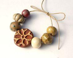 Hand built beads, bracelet, jewelry
