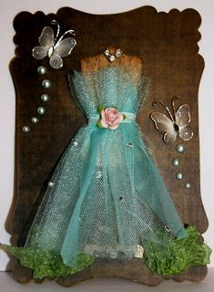 Shabby Beautiful Scrapbooking: Whimsical dress form note pad cover (wax resist technique)