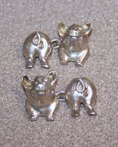 STERLING PIG CUFFLINKS