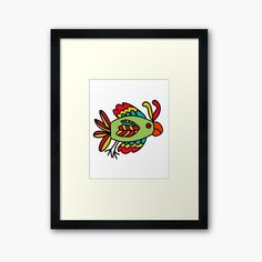 'Funny Bright Green Bird' Framed Print by Off Colour, Box Frames, Bright Green, Framed Art Prints, Print Design, My Arts, Bird, Printed, Awesome