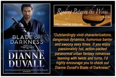 BLADE OF DARKNESS: Buy the Book—https://www.amazon.com/gp/product/B073V23CGT/ref=as_li_tl?ie=UTF8&camp=1789&creative=9325&creativeASIN=B073V23CGT&linkCode=as2&tag=dianduva-20&linkId=39e2eb34e792c44bcf85de867b0b12b2 • Read the Full Review—http://www.readingbetweenthewinesbookclub.com/2017/09/5-wine-glass-review-of-blade-of.html #paranormalromance #romance #action #humor #paranormal #fantasy