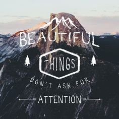Beautiful things don't ask for attention. I just get it :)