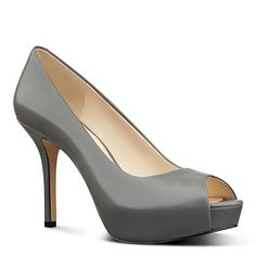 Nine West Qtpie Peep Toe Platform Pumps  (Grey, Size 9.5) - Brought to you by Avarsha.com