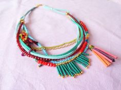 Bohemian necklace Great use for extra seed beads and left over leather cord, chains...