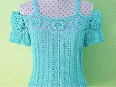 Diy Crafts - Crochet Beautiful Blouse Step by Step Black Crochet Dress, Crochet Tunic, Crochet Jacket, Crochet Clothes, Diy Clothes, Knit Crochet, Crochet Things, Beach Crochet, Popular Crochet