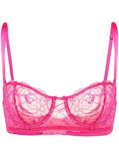 Gia pink silk-blend Chateau Lace balconette bra from Fleur du Mal featuring a floral lace pattern, adjustable shoulder straps and underwired cups. This article must be tried on over your own garments. Designer Bra, Designer Lingerie, Luxury Lingerie, Bra Lingerie, Gorgeous Lingerie, Gianni Versace, Pink Bra, Hot Pink Bikini, Outfits