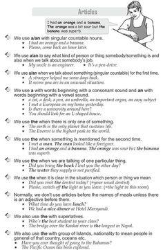 Grade 9 Grammar Lesson 36 Articles