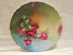 "Vintage T&V Limoges France Depose 9 1/2"" Hand Painted Plate with Roses"