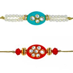 Set of 2 rakhis made of colored stone, kundans and pearls. The rakhis come with roli and chawal and are beautifully packed in a designer gift bag.  Rs 558/- http://www.tajonline.com/rakhi-gifts/product/rdr75/kundan-rakhi-set-of-2/?aff=pint2014/