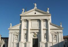 ANDREA PALLADIO: Front facade of San Giorgio Maggiore, Venice, begun 1566. Palladio's replacement of this gothic church, together with his renovation and enlarging of the monastery, began in 1565. The church was also realigned at this time, its façade having originally faced San Marco. Palladio died in 1580 and Simeone Sorella continued the work for a further 30 years.
