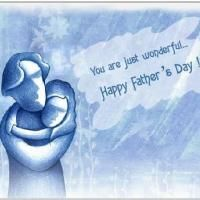 Blue Dad And Daughter Card