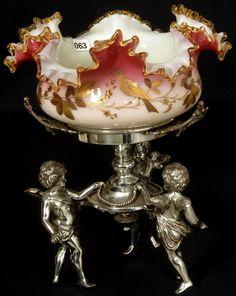 Thomas Webb Peachblow Art Glass Bride's Basket and Wilcox Silver Holder with Three Cherubs