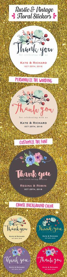 Rustic vintage floral thank you stickers for wedding favors, bridal shower gifts, engagement party favors. Flowers and leaves for spring wedding. http://www.zazzle.com/raindwops