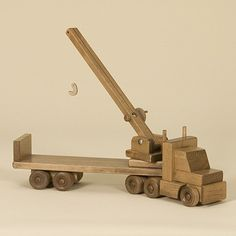 Amish Made Wooden Toy Truck with Crane Making Wooden Toys, Handmade Wooden Toys, Wooden Diy, Woodworking For Kids, Woodworking Toys, Woodworking Projects, Metal Toys, Wood Toys, Toy Crane