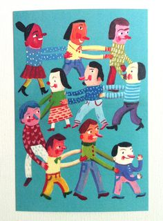 Dancing happy postcard Printed on a fine quality 250 gram by Tosya