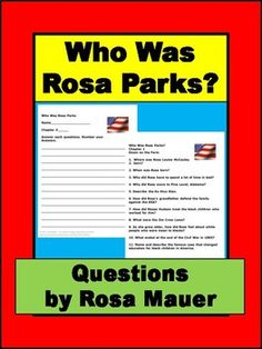 Who Was Rosa Parks? by Yona Zeldis Harrison Mcdonough: Receive short-answer questions for each chapter of the book. Answers are given for the teacher. Response forms for students are included. Follow me to receive notice when FREE and paid products are added to my store.