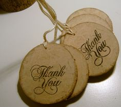 These primitive wooden thank you tags are slices from a sycamore tree branch. DIY wedding favor 100 lightly sanded and hand stamped. thank you tags Perfect for out going product orders, treat bags or gifts Measuring roughly 2.5 inch 6.4 cm We cut all of our own branch slices from