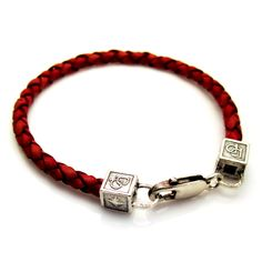 PerePaix Mens Tan Red Woven Leather Bracelet with Sterling Silver Cube Clasp Style Equestrian