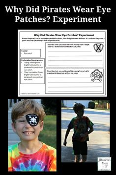 This is the final printable in my celebration of free pirate printables. This experiment answers the question Why Did Pirates wear eye patches? Pirate Activities, Preschool Science Activities, Printable Activities For Kids, Steam Activities, Preschool Themes, Science For Kids, Science Week, Early Learning, Kids Learning