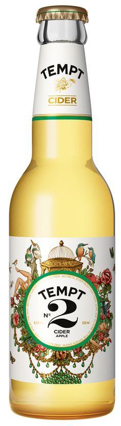 Tempt Cider, Apple #beverage #cider #packaging #graphicdesign #graphics #design #bottle #glass #floral #victorian #modern #tempt #apple