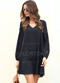 afdc775a60c4 Dresses -  40.99 - Polyester Solid Long Sleeve Above Knee Casual Dresses  (1955128278) Sukně