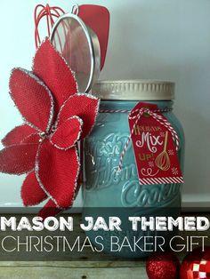 mason jar themed christmas baker gift. Perfect little gift for bakers