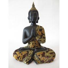 Thaise Boeddha biddend goud/zwart gekleurd