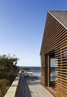 Teak Louvers on Poolhouse - beach style - exterior - boston - Ike Kligerman Barkley