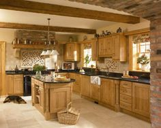 country kitchen.  Would rather have dark floors and lighter counter tops.