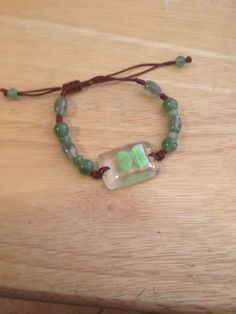 Beaded Lucky 4 Leaf Clover in Resin adjustable Bracelet
