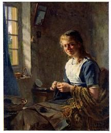 Girl textile worker (knitting). Illustration by Barthold for an article on the birth of Juliana, 1909-2004 daughter of Queen Wilhelmina of Netherlands in: Je Sais Tout (magazine), France, October 190