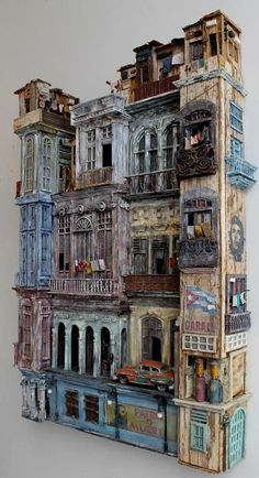 In this work different aspects of Cuba like architecture, culture, economy and po . - In this work different aspects of Cuba like architecture, culture, economy and politics … - Cultural Architecture, Architecture Design, Vitrine Miniature, Miniature Houses, Cardboard Art, Driftwood Art, Assemblage Art, Fairy Houses, Village Houses