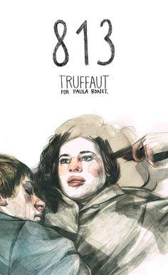 """813 : Truffaut / por Paula Bonet: """"Paula Bonet sigue los pasos de Truffaut por París.Paula Bonet, una de las ilustradoras con más proyección y prestigio internacional, propone una visión personal sobre François Truffaut.El cineasta francés, representante máximo de la nouvelle vague, es un personaje cautivador y con una personalidad profunda ..."""""""
