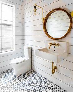 Cement Tile - Pattern: Estrella Black black/white floor w brass hardware Farmhouse Bathroom Mirrors, Bathroom Mirror Design, White Bathroom Tiles, Bathroom Tile Designs, Bathroom Floor Tiles, Bathroom Interior Design, Small Bathroom, Modern Bathroom, Country Bathrooms