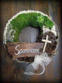 - veniec-spomíname 7 - 1871217 Grave Decorations, Palm Sunday, Funeral Flowers, Ikebana, Grapevine Wreath, Flower Arrangements, Diy And Crafts, November, Bouquet