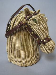 Vintage Marcus Brothers golden straw rattan horse head purse c. 1961
