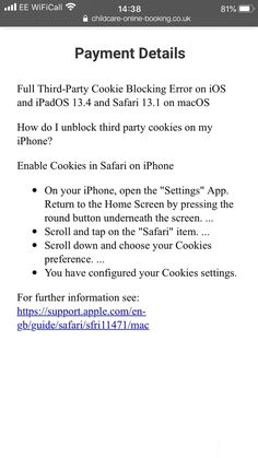 """We have now implemented an improved error message to help #Apple users after Full Third-Party Cookie Blocking was very kindly introduced on March 24th during the pandemic (note the sarcasm). This only effects users with newer Apple devices: iOS and iPadOS 13.4 and Safari 13.1 on macOS.  So, Apple are fast taking over Microsoft in the """"do it our way or no way"""". I know Apple products are enormously popular, but Apple's arrogance is baffling, especially during a pandemic. Tor Browser, After School Club, Script S, Latest Discoveries, Settings App, Third Party, Apple Products, Cob, Childcare"""