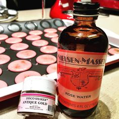 Making sparkling rose macarons for my first try. Hope they turn out good. #rosewater #macaronstagram