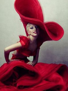 Lady Gaga, Annie Leibovitz  Dress, Lady Gaga, red, simple, powerful, shape, beauty, fashion, classic, timeless, iconic,