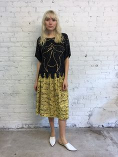 vintage black and gold beaded shell / silk sequin top with art deco motif / cocktail party blouse by dustyrosevintage on Etsy