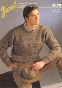 Jarol Knitting Pattern JX70, DK, Mans Round Neck Cable Patterned Sweater