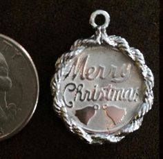 Vintage Sterling Silver Merry Christmas Bells Charm engraved 12-25-1971 stamped CREA STER by Statusjacker on Etsy https://www.etsy.com/listing/452786242/vintage-sterling-silver-merry-christmas